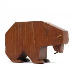 Kubistische vintage ijsbeer van teakhout