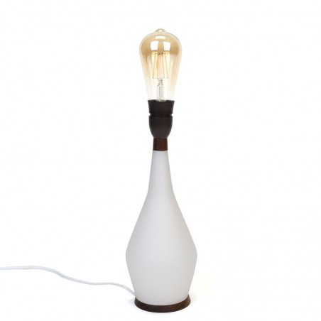 Danish vintage table lamp with white glass base