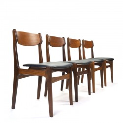 Danish set of 4 vintage teak dining table chairs