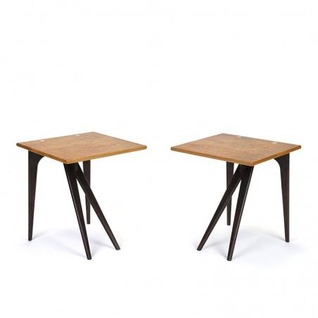 Set of 2 Danish vintage side tables in teak with brass detail