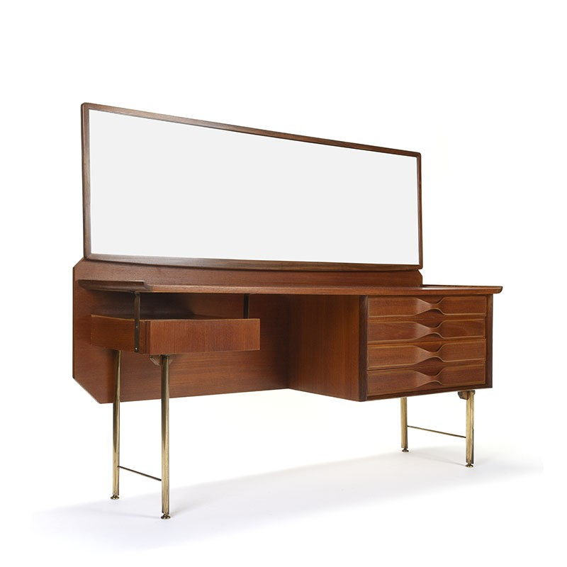 Vintage dressing table with organic shape and brass frame
