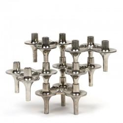 Set van 5 vintage Orion stapel kandelaars design F. Nagel