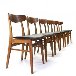 Deense set van 6 vintage eettafel stoelen