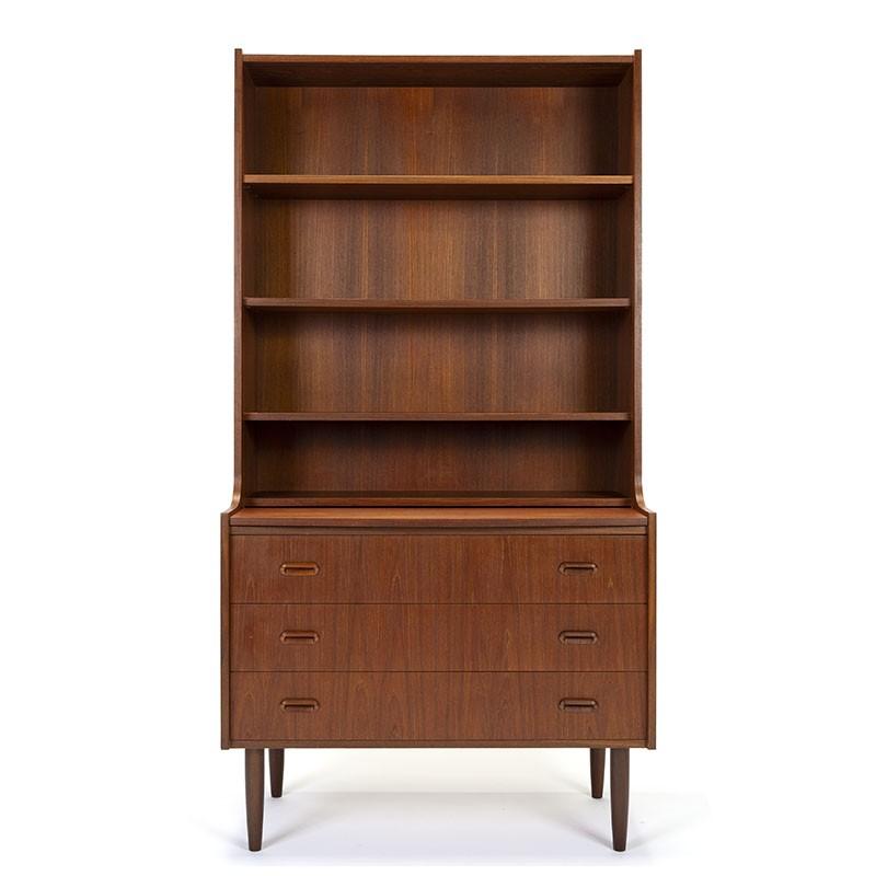 Danish teak vintage bookcase with drawers