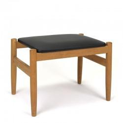 Oak vintage pouf or footstool from Denmark