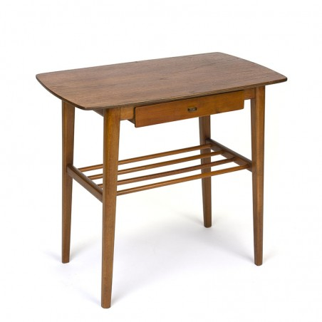 Vintage side table with teak top and small drawer