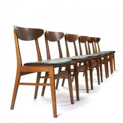 Vintage Farstrup model 210 set van 6 stoelen