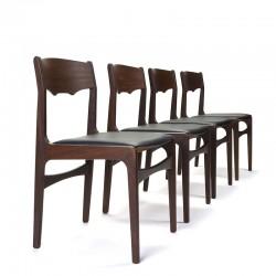 Deense vintage set van 4 donkere teakhouten stoelen