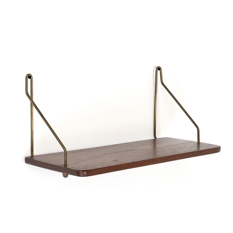Small Danish vintage teak wall shelf with brass brackets