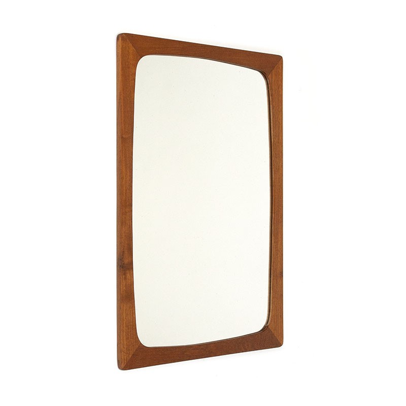 Danish small vintage mirror with teak edge