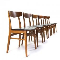 Set van 6 Deense vintage eettafel stoelen jaren zestig