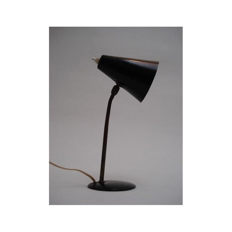 Jaren 50 tafellamp zwart/koper
