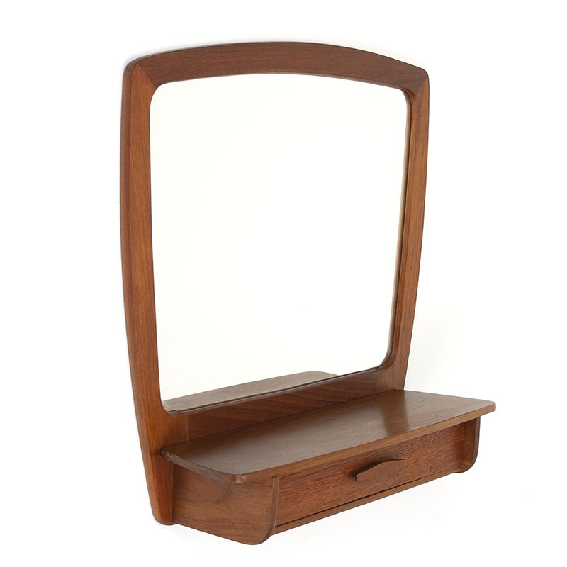 Teak Danish vintage mirror with drawer
