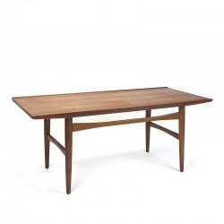 Teakhouten Deense vintage salontafel met opstaande rand