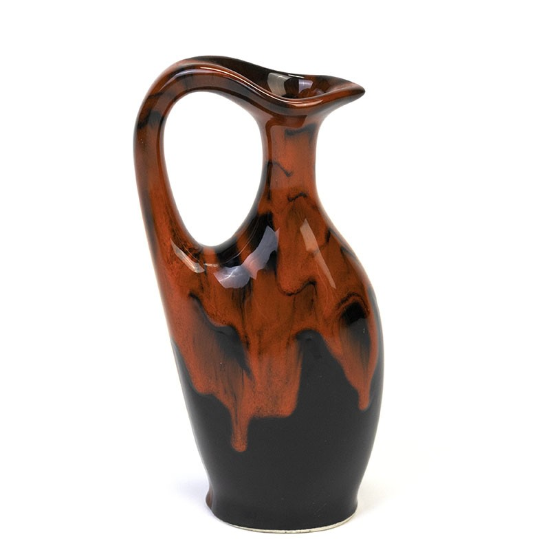 Black with red vintage vase