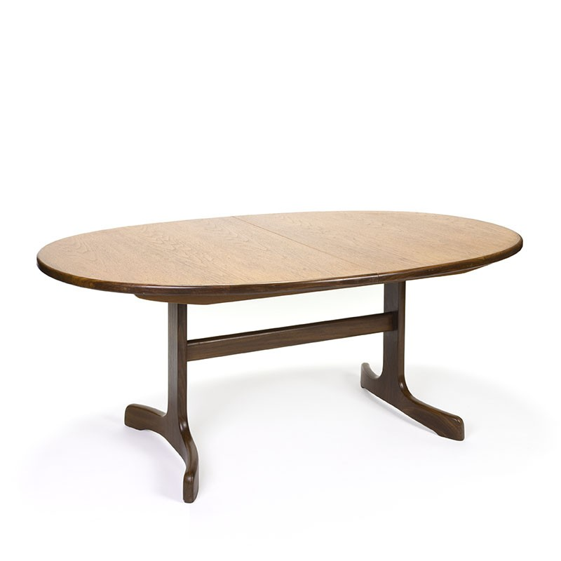 Teak oval model vintage extendable dining table