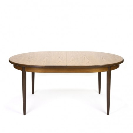 Vintage large oval model extendable dining table in teak