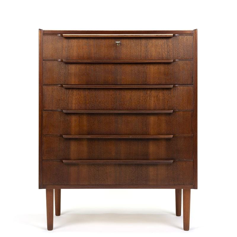 Dark teak Danish vintage chest of drawers