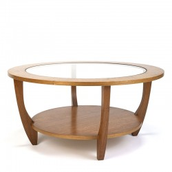 Round vintage coffee table with glass top
