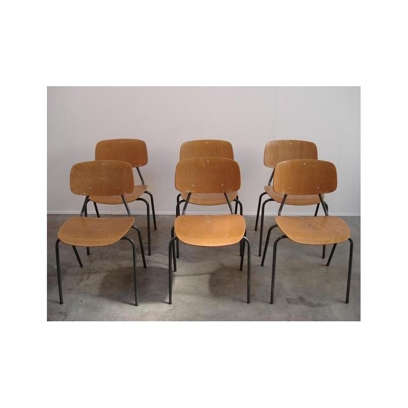 Kho Liang Le plywood stoelen set van 6