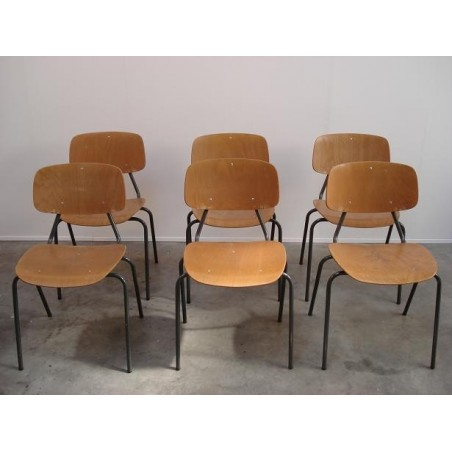 Kho Liang Le plywood chairs set of 6