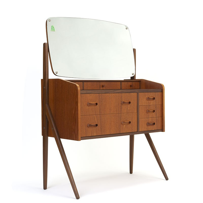 Danish vintage dressing table in teak with large mirror