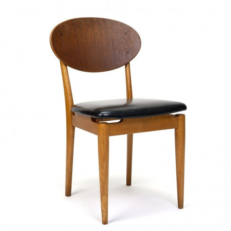 Danish vintage dining table chair with oval backrest