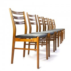 Deense set van 6 Mid-Century Farstrup eettafel stoelen