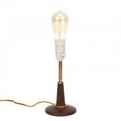 Danish vintage teak / brass table lamp