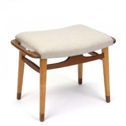 Danish vintage ottoman or stool in teak and oak