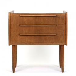 Teak Danish small model chest of drawers on high legs
