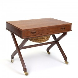 Danish vintage sewing table with crossed base