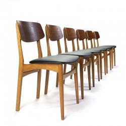 Set van 6 Deense vintage eettafel stoelen