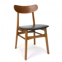 Deense vintage eettafel stoel met inkeping