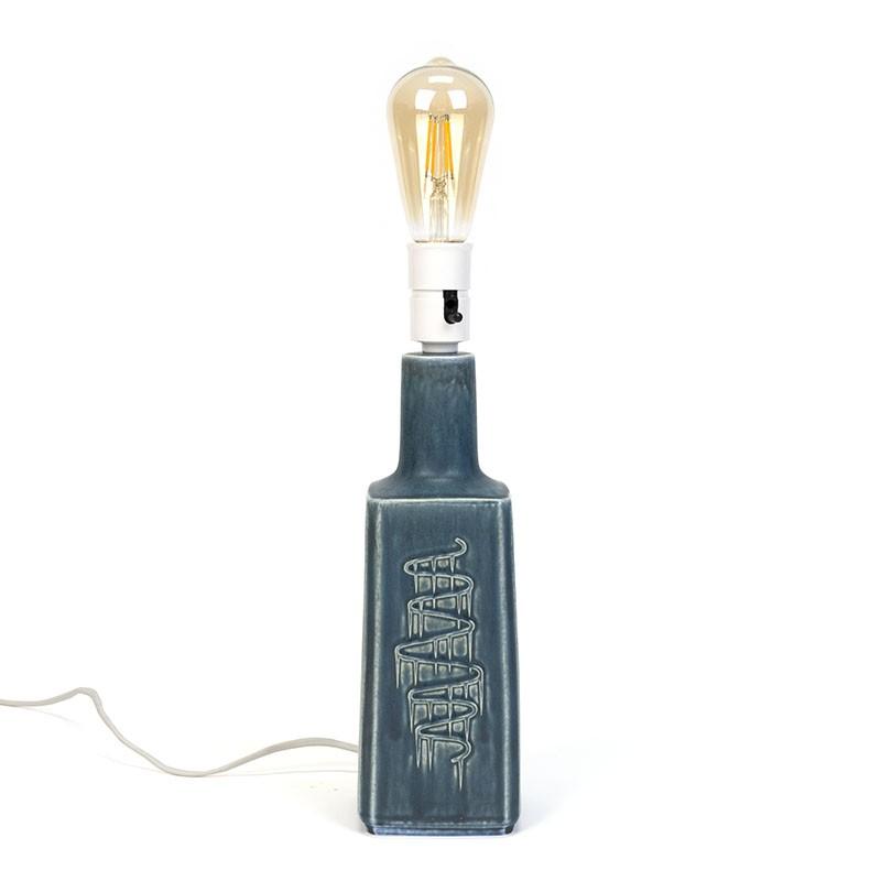 Blue/ grey vintage table lamp design Desiree Stentøj