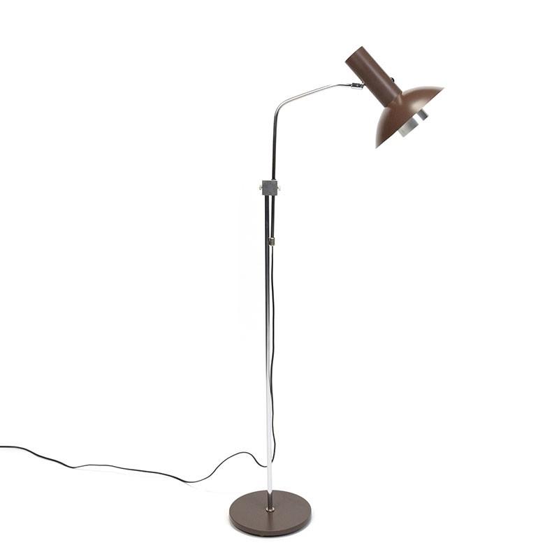 Vintage Deense vloerlamp met verstelbare bruine kap