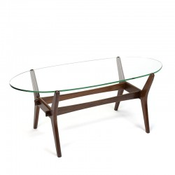 Vintage oval model coffee table with teak frame and glass top