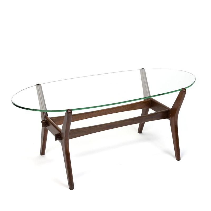 Vintage ovaal model salontafel met teak frame en glazen blad