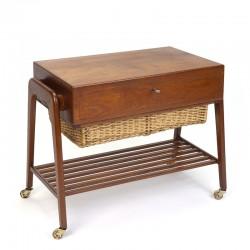 Vintage Danish teak side table with wicker basket