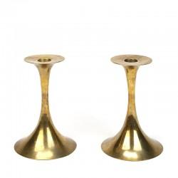 Danish set of brass vintage candlesticks