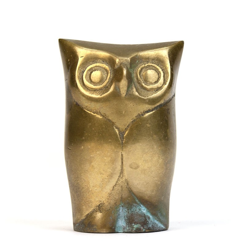Brass vintage owl small model