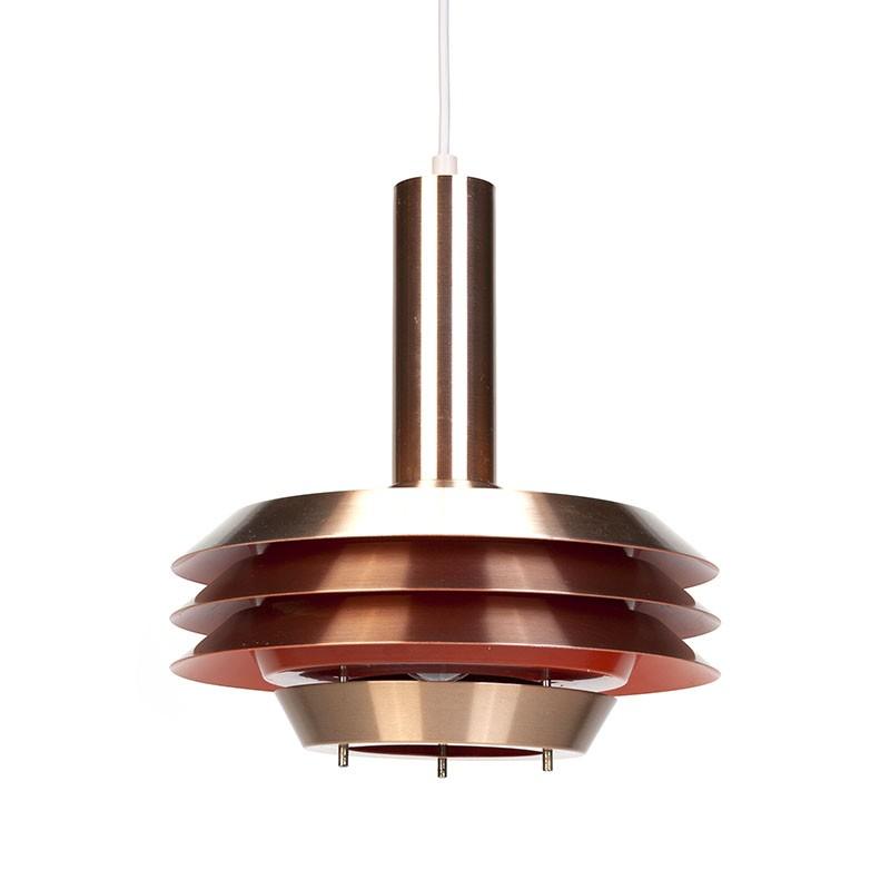 Danish red copper vintage disc pendant lamp