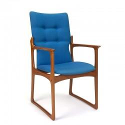 Deense vintage Design armstoel in teak met blauwe bekleding