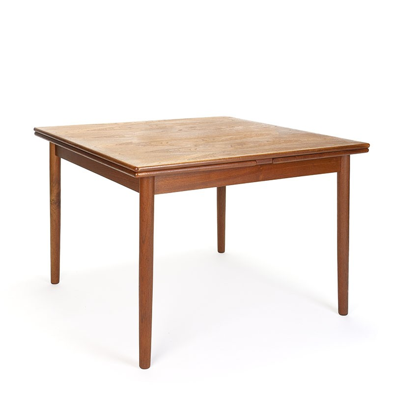 Danish vintage square model extendable dining table in teak