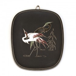 Vintage wandbord met kraanvogels van Arno Kiechle