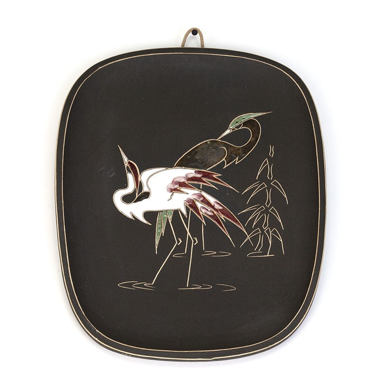 Vintage wall plate with cranes by Arno Kiechle