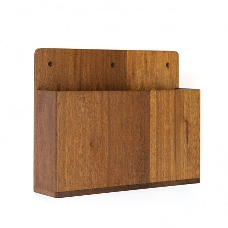 Danish vintage wall compartment / magazine holder in teak