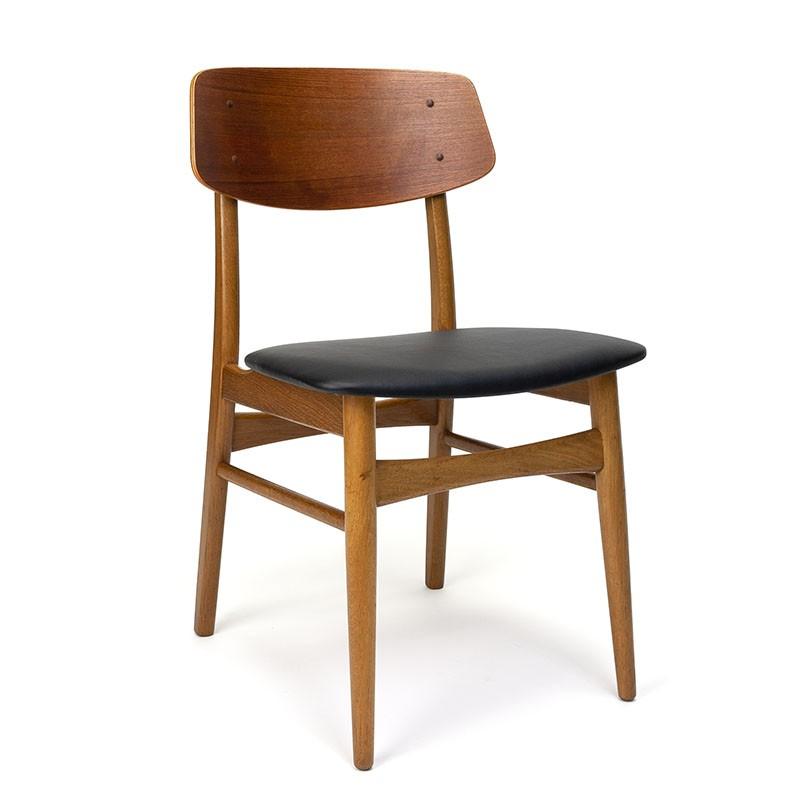 Deense vintage eettafel stoel in teak en eiken