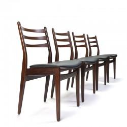 Set of 4 Danish vintage dining table chairs in dark teak