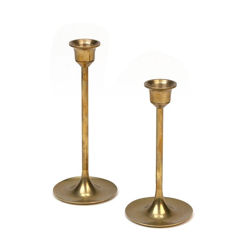 Vintage set of 2 slim brass candlesticks